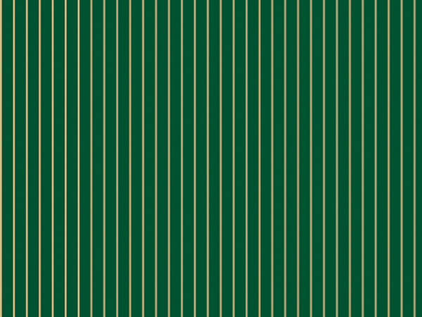 "Gold and Green Stripes 18""x833' Gift Wrap Full Ream Roll"