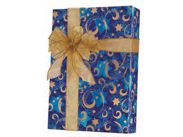 "Gold Star Hanukkah 24""x100' Gift Wrap Roll"