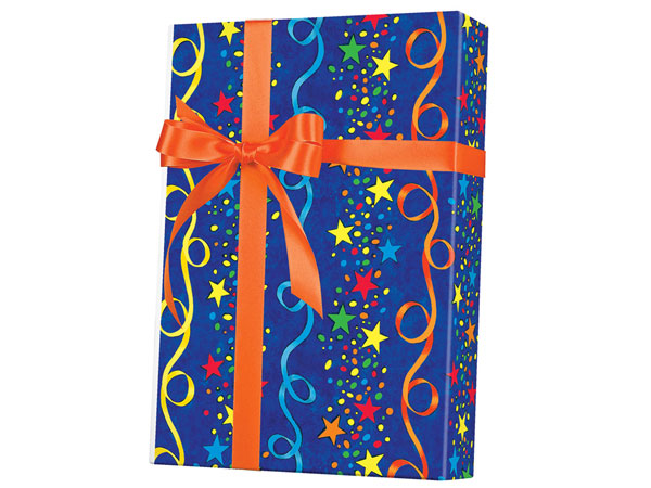 "Stars and Streamers 24""x833' Gift Wrap Full Ream Roll"