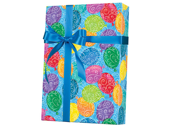 """Balloons Galore Wrapping Paper 24""""x417', Half Ream Roll"""