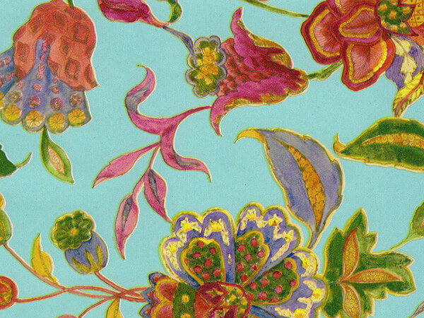 """Crewel Embroidery Wrapping Paper 24""""x417', Half Ream Roll"""