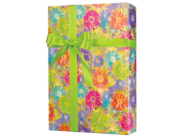 """Gilded Daisies  24""""x833' Gift Wrap Full Ream Roll"""
