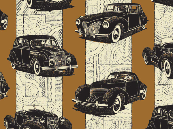 "Classic Cars 18"" x 417' Half Ream Roll Gift Wrap"