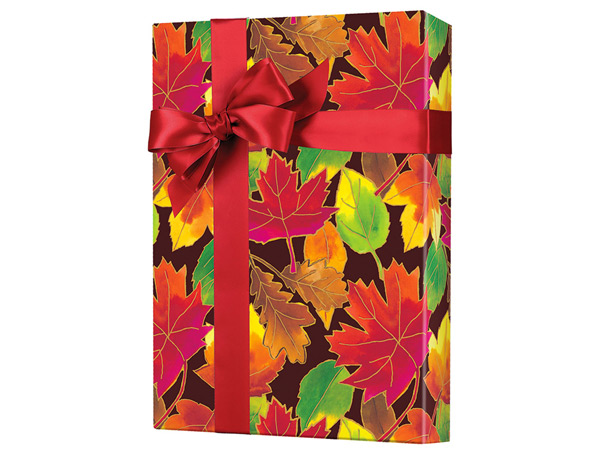 """Autumn Leaves Wrapping Paper 24""""x100', Cutter Box"""