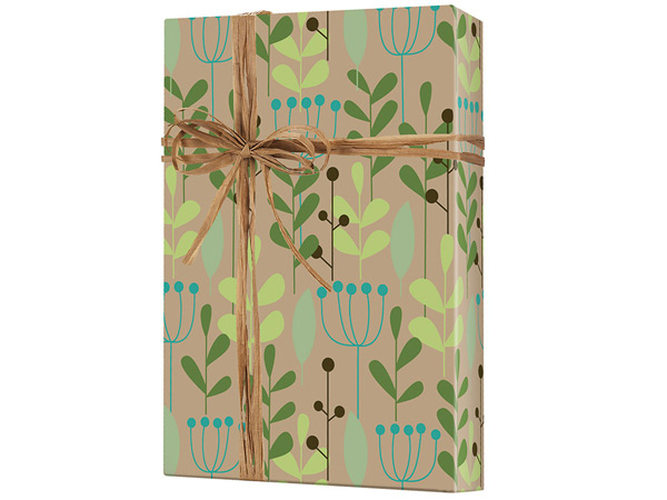 "Leaves and Berries 24""x100' Recycled Gift Wrap Roll (Kraft)"