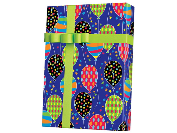 "Party Balloons Wrapping Paper 24""x100', Cutter Box"
