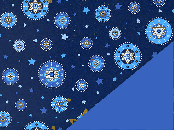 "Starry Chanukah Reversible Gift Wrap, 24""x100', Cutter Box"