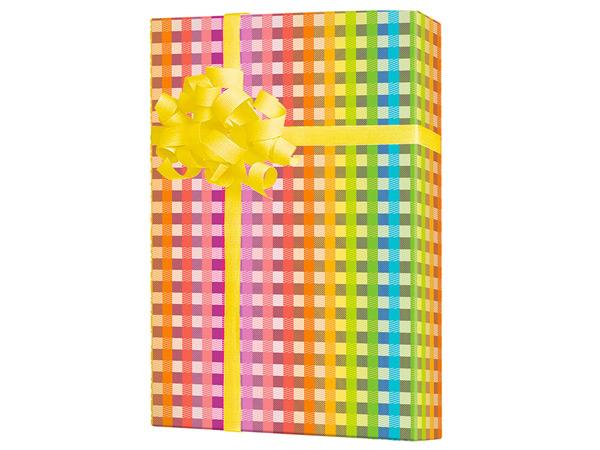 "Rainbow Gingham 18"" x 417' Half Ream Roll Gift Wrap"