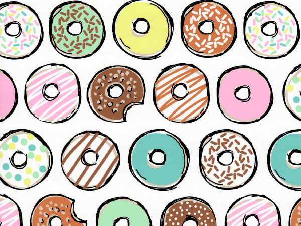 """Decorative Donuts 24"""" x 833' Full Ream Roll Gift Wrap"""