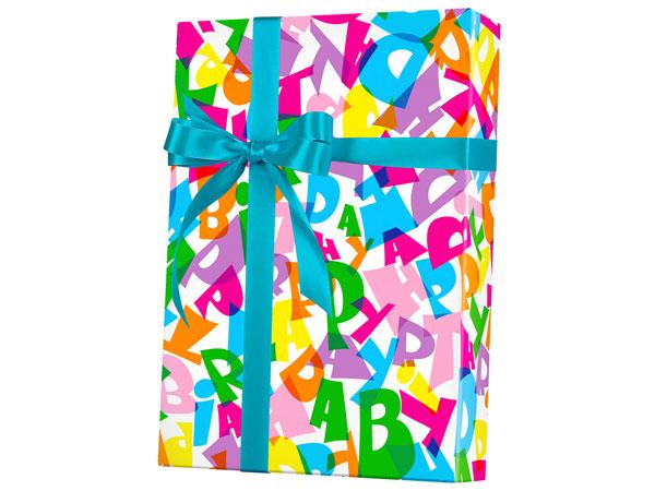"Happy Birthday Type 18"" x 417' Half Ream Roll Gift Wrap"
