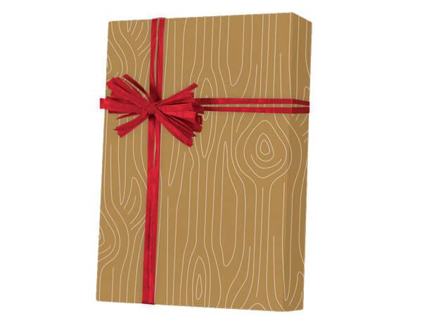 "Woodgrain Kraft Wrapping Paper 18""x417', Half Ream Roll"