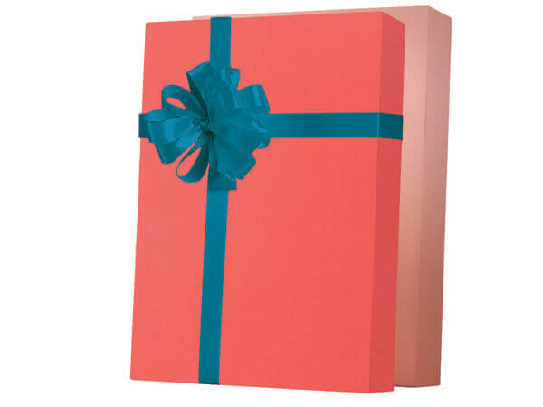 """Living Coral Reversible Gift Wrap 24""""x417', Half Ream Roll"""