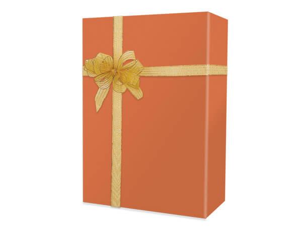 "Burnt Orange Matte Gift Wrap 24""x417', Half Ream Roll"