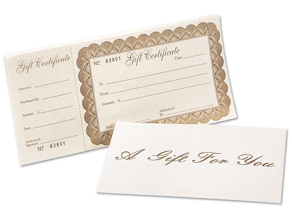 Deluxe Gift Certificate & Envelope, 100 pack