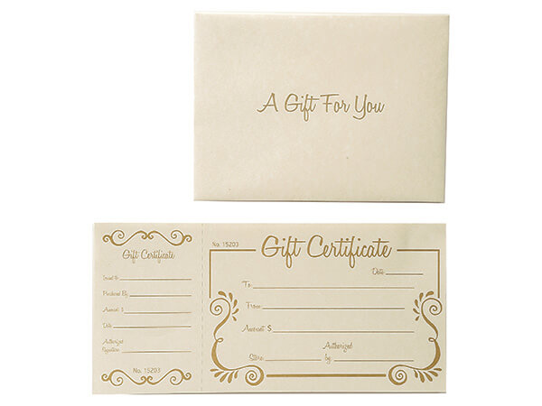 gold scroll deluxe gift certificate 100 certificates w ivory