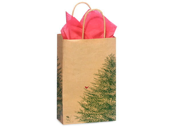 Rose Evergreen Recycled Paper Bags 25 Pk 5-1/2x3-1/4x8-3/8""