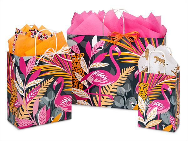 Exotic Jungle Paper Shopping Bag Assortment, 125 Pack