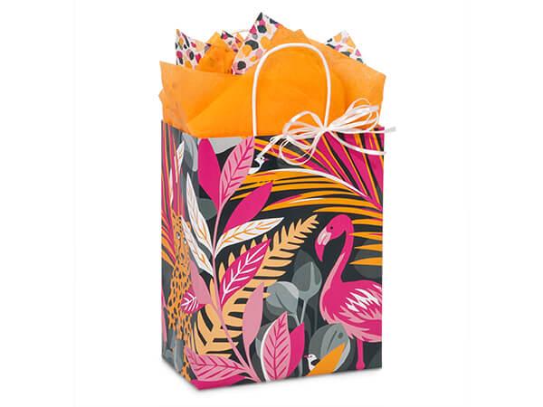 "Exotic Jungle Paper Shopping Bags, Cub 8.25x4.75x10.5"", 250 Pack"