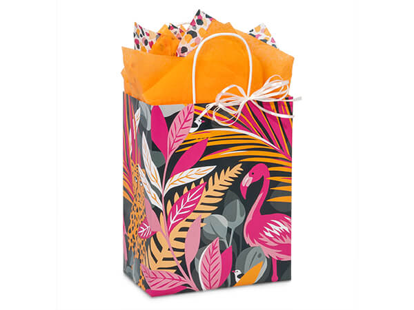 "Exotic Jungle Paper Shopping Bags, Cub 8.25x4.75x10.5"", 25 Pack"