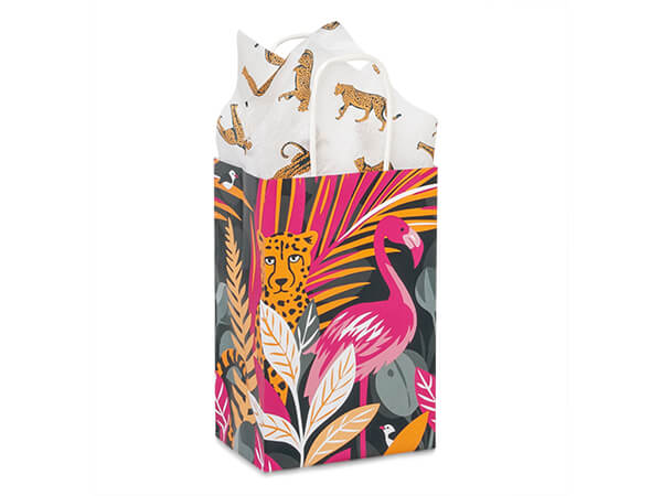 "Exotic Jungle Paper Shopping Bags, Rose 5.25x3.5x8.25"", 25 Pack"