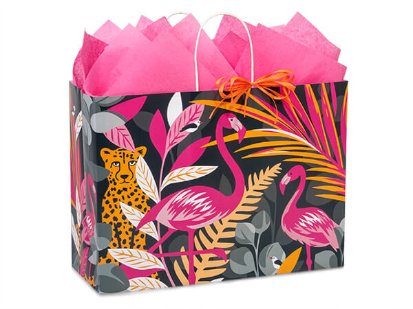"""Exotic Jungle Paper Shopping Bags, Vogue 16x6x12.5"""", 25 Pack"""