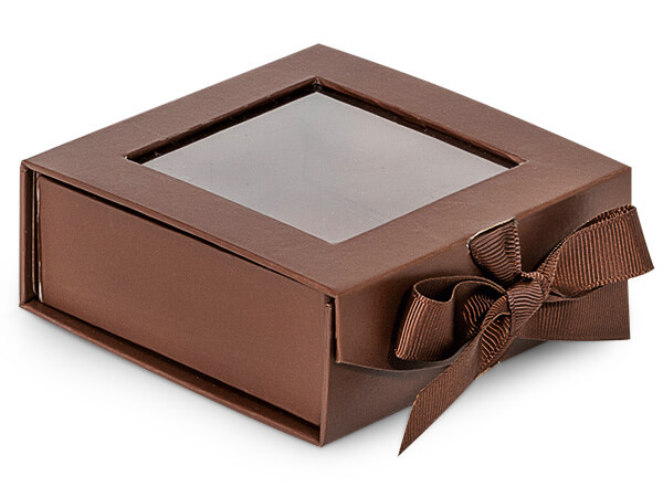Chocolate Folding Box with Window and Ribbon Closures 4x4x1.5""