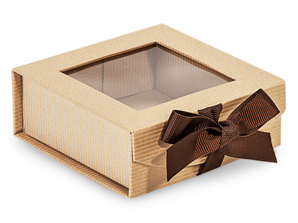 Kraft Pinstripe Folding Box with Window and Ribbon Closures 4x4x1.5""