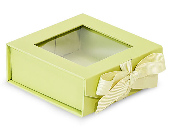 """Pistachio Folding Box with Window and Ribbon Closures 4x4x1.5"""""""