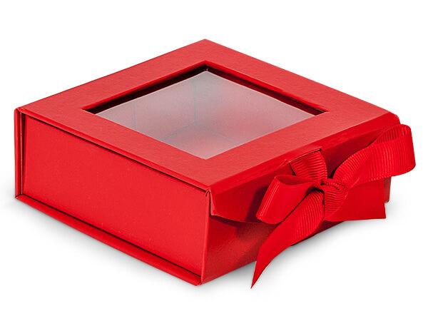 Red Folding Box with Window and Ribbon Closures 4x4x1.5""