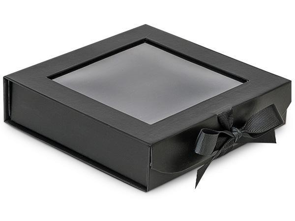 "Black Folding Box with Window and Ribbon Closures 6x6x1.5"""