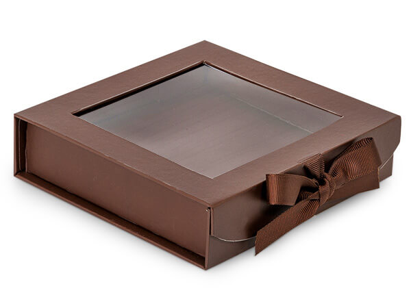 Chocolate Folding Box with Window and Ribbon Closures 6x6x1.5""