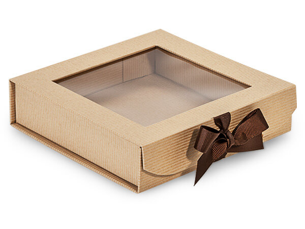 Kraft Pinstripe Folding Box with Window and Ribbon Closures 6x6x1.5""