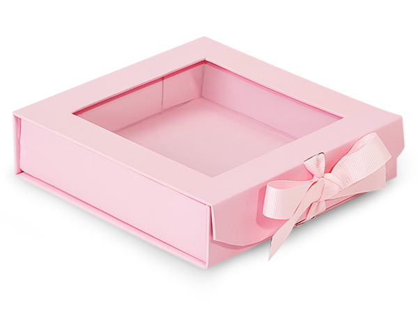 """Pretty Pink Folding Box with and Ribbon Closures 6x6x1.5"""""""
