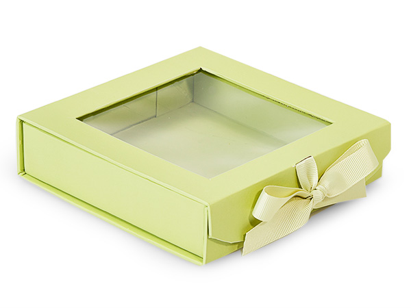 Pistachio Folding Box with Window Window and Ribbon Closures 6x6x1.5""