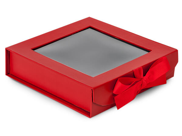 Red Folding Box with Window and Ribbon Closures 6x6x1.5""