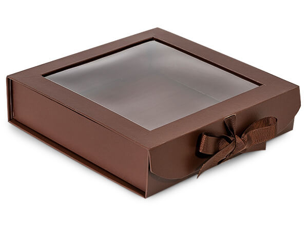 Chocolate Folding Box with Window and Ribbon Closures 8x8x2""
