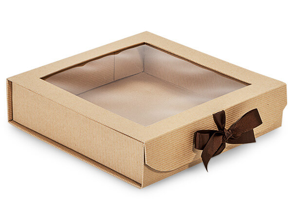 Kraft Pinstripe Folding Box with Window and Ribbon Closures 8x8x2""