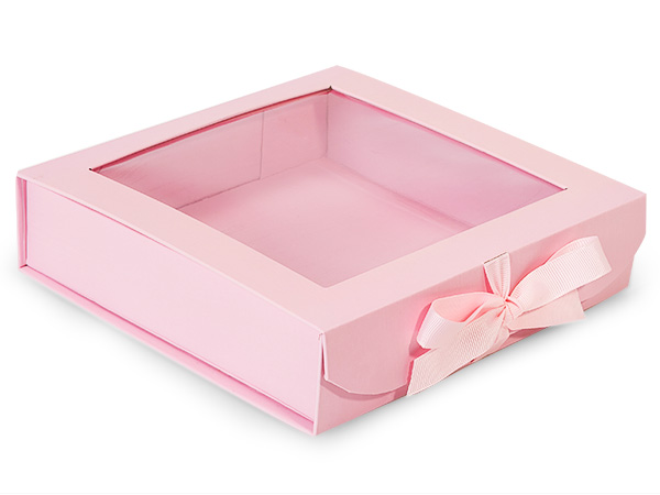 Pretty Pink Folding Box with Window and Ribbon Closures 8x8x2""