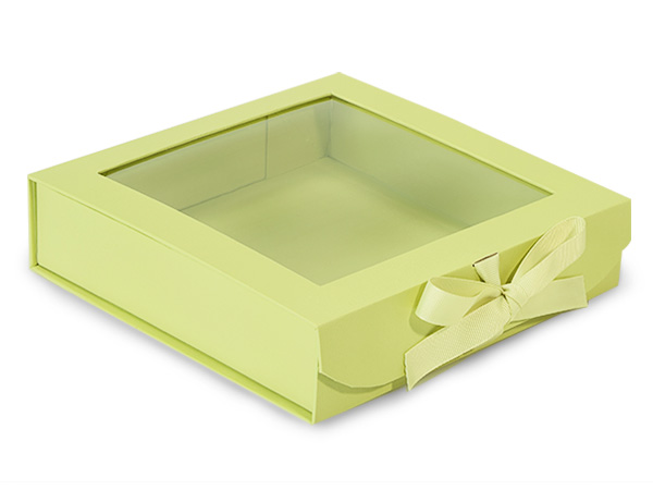 Pistachio Folding Box with Window and Ribbon Closures 8x8x2""