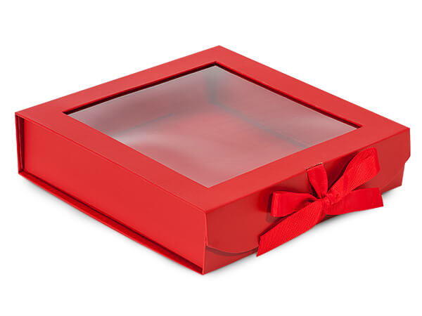 Red Folding Box with Window and Ribbon Closures 8x8x2""