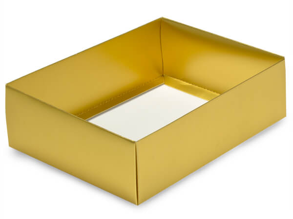 "Gold Large Folding Box Base, 6.5x4.75x2"", 50 Pack"