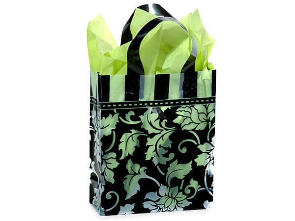 "Floral Brocade Plastic Gift Bags, Cub 8x4x10"", 100 Pack"