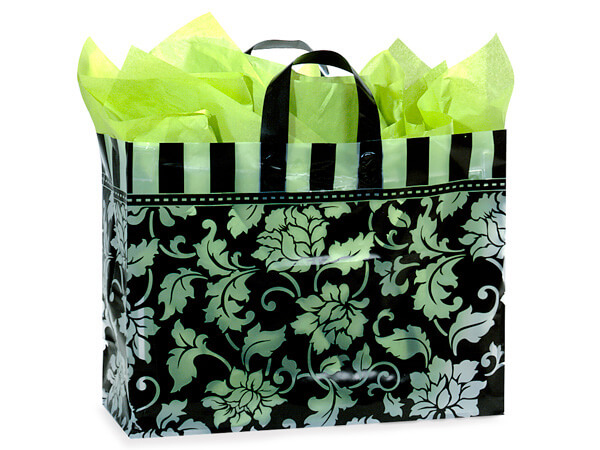 """Floral Brocade Plastic Gift Bags, Vogue 16x5x12"""", 100 Pack"""