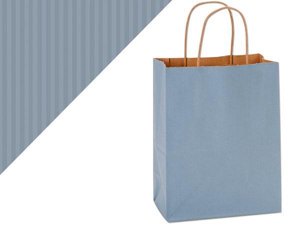 "French Blue Shadow Stripe Bags Cub 8x4.75x10.5"", 25 Pack"