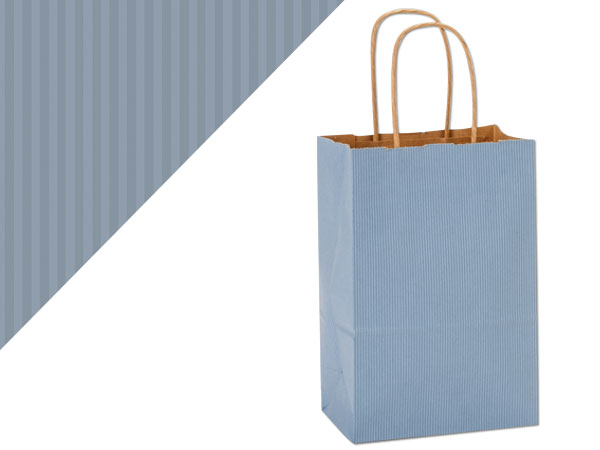 "French Blue Shadow Stripe Bags Rose 5.5x3.25x8.375"", 25 Pack"