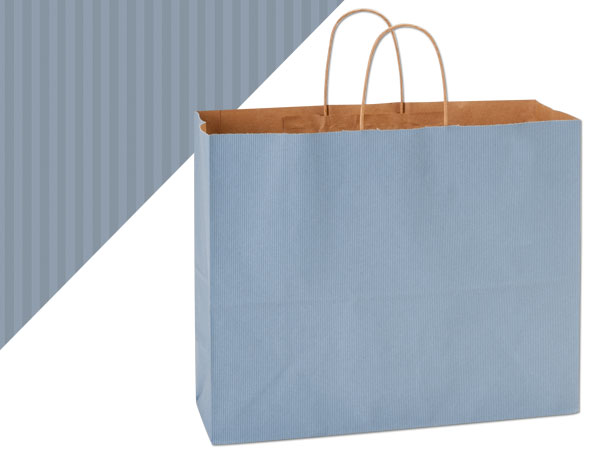 """French Blue Shadow Stripe Bags Vogue 16x6x13"""", 25 Pack"""