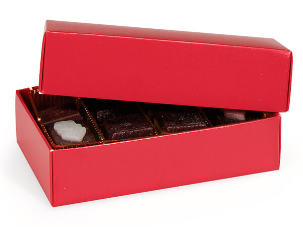 **1/2 lb Red Candy Boxes - 1 Layer 2 Pc. 6-1/2x3-3/4x1-3/4""