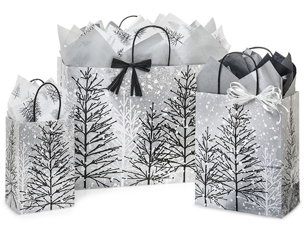 Frosted Forest Paper Shopping Bag, Assortment 125 Pack