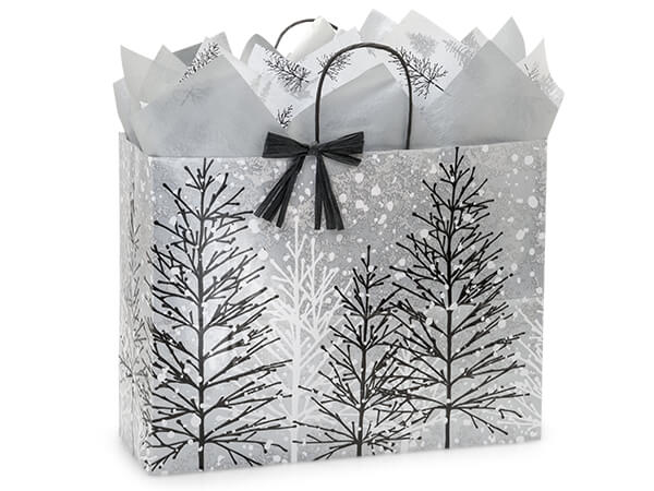 "Frosted Forest Paper Shopping Bags, Vogue 16x6x12.5"", 200 Pack"