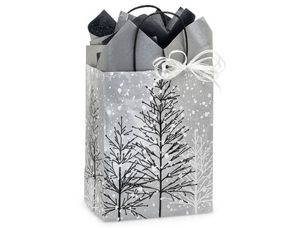 "Frosted Forest Paper Shopping Bags, Cub 8.25x4.75x10.5"", 25 Pack"